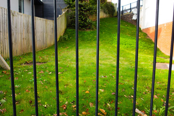 black iron railings with mown grass behind and a wooden fence