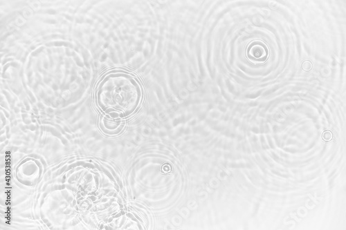 Water background. White transparent water texture, blue mint water surface with rings and ripple. Spa concept background. Flat lay, top view, copy space, copy-space, place for text.