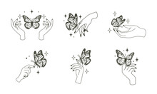 Woman Hand With Butterfly Logo. Magical Esoteric Occult Style Illustration.