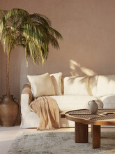 3d Rendering Of A Minimal Summer Mediterranean Relaxed Space With Earthy Tones And A Sofa With White Slipcover And Ceramic Pot With A Palm Plant