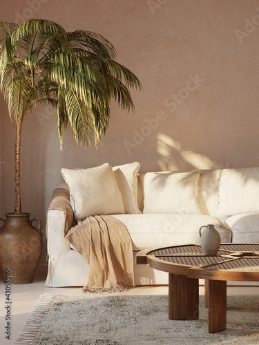 Obraz na plátně 3d rendering of a minimal Summer mediterranean relaxed space with earthy tones a