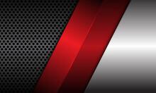 Abstract Red Metallic Silver Dark Grey Metal Circle Mesh Overlap Design Modern Luxury Futuristic Background Vector Illustration.