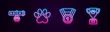 Set Line Collar With Name Tag, Paw Print, Dog Award Symbol And Pet. Glowing Neon Icon. Vector