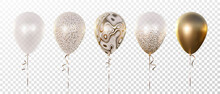 Vector Set Of Five 3d Realistic Balloons. Transparent With Abstract Golden Texture, With Golden Confetti Circles, And Golden. Good For Birthday, Anniversary, New Year, Wedding, Holiday Event Designs.