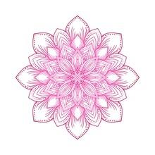 Pink Circular Lotus Mandala Flower Pattern