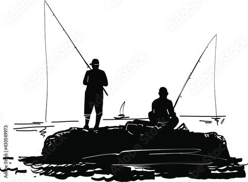 fisherman with fishing rod Fototapet