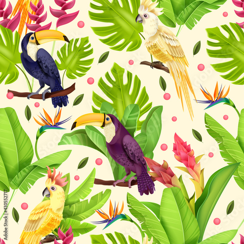 Fototapeta premium Jungle vector seamless pattern, exotic birds, paradise parrot, toucan, banana leaves, flowers, monstera. Summer nature floral texture, tropical botanical green fabric design. Wildlife jungle pattern