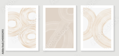 Abstract art background vector. Minimalist modern contour drawing. contemporary abstract line art design for wall art, wallpaper, home decoration, cover, printable painting.