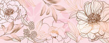 Luxury Golden Pink Tropical And Summer Flower Background Wall Art Vector Design Home Decorate