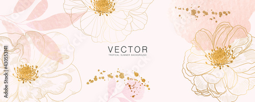 minimal background in pink flowers and tropical summer leaf - fototapety na wymiar