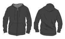 Hoodie Jacket With Zipper. Mockup Template
