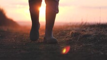 Farmer Goes With Rubber Boots Along Green Field. Rubber Boots For Work Use. A Worker Go With His Rubber Boots At Sunset Time. Concept Of Agricultural Business. Steadicam Video