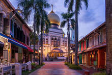 Illuminated Arab Street And Masjid Sultan Mosque With No People During City Lock Down At Kampong Glam, Singapore.