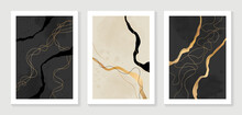 Abstract Art And Gold Background Vector. Watercolor And Golden Art Brush Design For Wallpaper, Wall Art, Prints And Cover Design Templates.