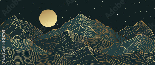 Mountain line art background, luxury gold wallpaper design for cover, invitation background, packaging design, wall art and print.  - fototapety na wymiar