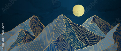 Mountain line art background, luxury gold wallpaper design for cover, invitation background, packaging design, wall art and print.