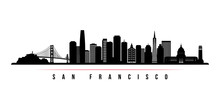 San Francisco Skyline Horizontal Banner. Black And White Silhouette Of San Francisco, California. Vector Template For Your Design.