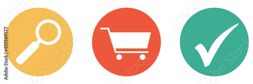 Fototapeta Bunter Banner mit 3 Buttons: Supermarkt, Shop oder Produkte suchen obraz