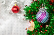 Closeup of bauble - pattern white background for Christmas or New years decoration background, space for add text or picture.