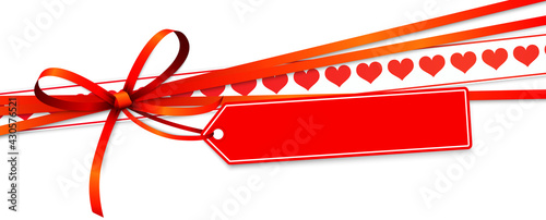 valentine ribbon bow with hearts and hang tag - fototapety na wymiar