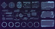 Sci-fi Futuristic Hud Dashboard Display Virtual Reality Technology Screen. Futuristic Frames. Cyberpunk HUD Square Screen, Callout, Title And Radar. Big Collection HUD, GUI Elements For Game UI Design