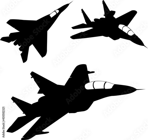 Papel de parede fighter aircrafts silhouettes - vector