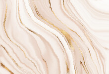 Liquid Marble Abstract Design Painting Background With Gold Wave Texture.