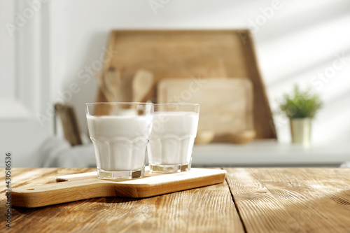 Table background of free space and cold milk