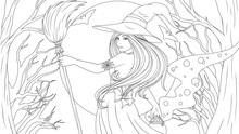 Vector Coloring, Cute Beautiful Witch With A Broom And A Pot Of Potions At Night In The Forest