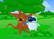Cute Cartoon Chatbot Exploring Nature With Loupe. Flat Vector Illustration. Friendly Bot In Search Of Honey, Standing Near Tree, Hive, Flying Bees. Nature, Artificial Intelligence, Robot Concept