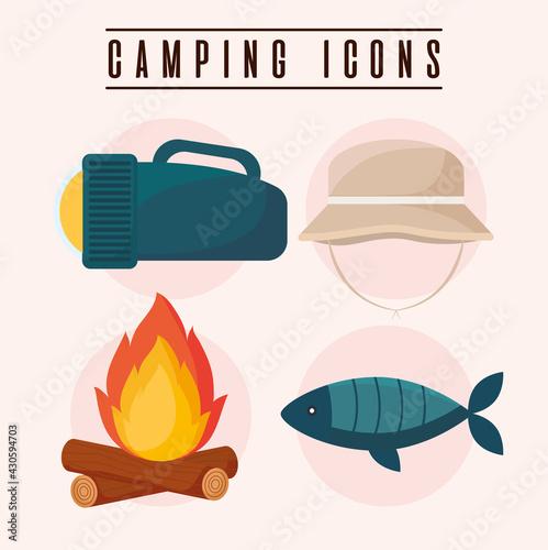 four camping icons Fotobehang