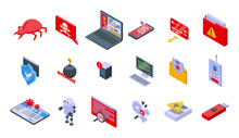 Malware Icons Set. Isometric Set Of Malware Vector Icons For Web Design Isolated On White Background