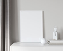 White Interior Frame Mockup With  Modern Decor And Books