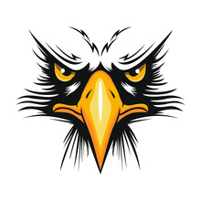 A Bald Eagle Portrait (Haliaeetus Leucocephalus) On A White Background. An Angry American Bald Eagle Head Logo Mascot In Cartoon Style.