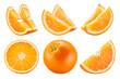 canvas print picture - Orange isolate. Orange fruit set on white background. Whole orange fruit with slice.