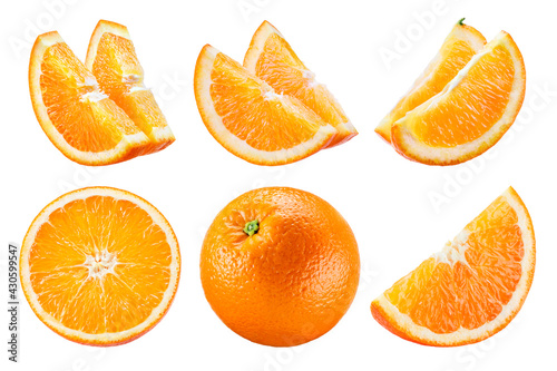 Orange isolate. Orange fruit set on white background. Whole orange fruit with slice. - fototapety na wymiar