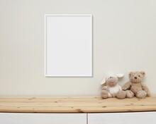 Nursery Frame Mockup Hanging On Wall, Baby Room Wall Art Mock Up, White Frame For Design Presentation, Wooden Shelf.