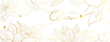 Christmas Golden Poinsettia Social Network White Head Banner