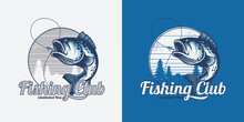 Illustration Of A Vintage Fishing Logo Concepts. For T Shirt,template,emblems, Labels, Symbol, Badge, Icon, Sticker On Catching Fish.