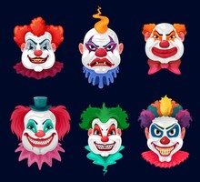Horror Clown And Scary Circus Monster Faces Cartoon Vector Design Of Halloween Holiday. Evil Clown Or Joker Characters With Bloody Teeth, Sharp Vampire Fangs And Crazy Smiles, Red Noses And Wigs