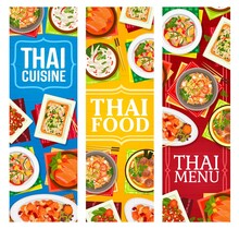 Thai Food Restaurant Dishes Posters. Shrimp Noodles Pad Thai, Sweet And Sour Pork, Fried Rice And Basil Chicken Pad Kparow Gai, Meatball Soup And Grapefruit Salad Yam Som, Red Lamb Curry Vector