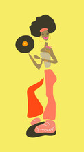African Girl With Vinyl Disc  Dressed In Retro  Disco Style Clothes. Minimalist Vector Illustration.Poster,flyer, Decorative Element For Web. Isolated.  Dark Yellow Background.