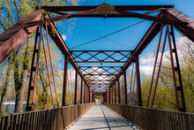 An Old Steel Bridge Built In The Early 1900s Is Now A Safe Footpath Across The Boise River Near Boise State University In Boise, Idaho.