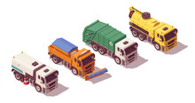 Isometric Municipal Utility Trucks Set. Street Sweeper Cleaner Truck, Snow Plow Truck, Garbage Truck, Sewer Sewage Cleaning Truck. Vector Illustration