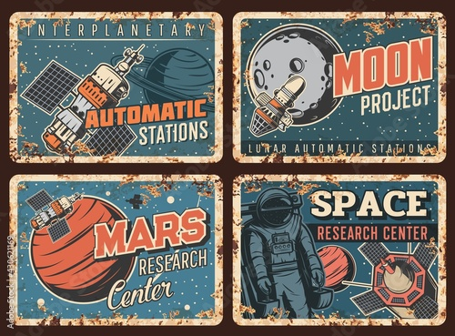 Space galaxy metal plates rusty, astronauts and universe planets, vector retro posters Fototapet