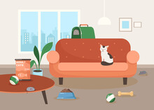 Cute Cat Character Sitting On Sofa In Living Room Illustration. Calm Cartoon Domestic Animal, Toys On Floor, Bowl With Cat Food, Pet Carrier. Domestic Animals, Pets, Pet Food Concept