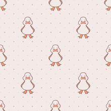 Kawaii Duck Farm Animal Seamless Vector Pattern With Soft Brown Polka Dot Background.