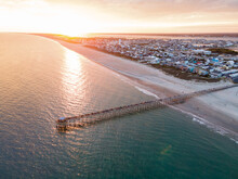 Drone View Of Oceanana Pier In Atlantic Beach On The Crystal Coast Of North Carolina At Sunset