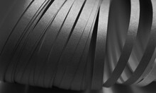 Abstract Black And White Wave Curl Strip Paper Horizontal Background.