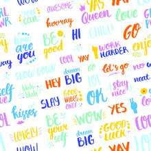 Seamless Pattern With Frequently Used Words And Phrases. For Prints, Backgrounds, Wrapping Paper, Textile, Wallpaper, Etc.